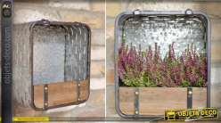 Jardinière étagère murale en métal gris argenté et bois 31 cm