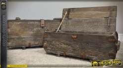 Duo de coffres anciens en bois et métal style brocante 73 cm et 60 cm