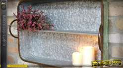 Etagère murale métal façon zinc martelé en forme d'ancien plateau de service 60 cm