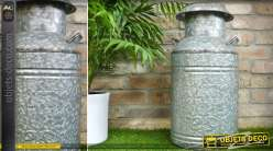 Grand et ancien pot à lait en zinc vieilli style rétro 58 cm