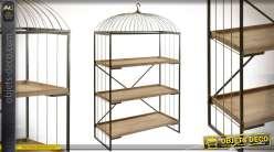 Etagère en bois et métal en forme de grande cage à oiseaux 176cm