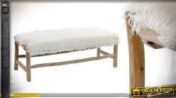 Bout de lit en bois de chêne et poils doux en polyester 110cm de long