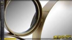 Décoration murale multi-miroirs ronds dorés en métal et  en relief 126 x 66 cm