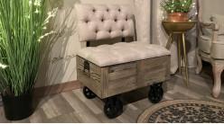 Banquette d'appoint de style industriel esprit wagonet minier en bois