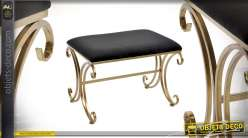 Banquette en métal finitions doré ancien et assise en velours noir