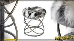 Repose-pieds en métal argenté et assise en fourure poils longs synthétiques