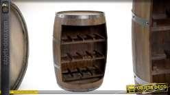 Table d'appoint et range bouteille en forme d'ancien tonneau bordelais 80 cm