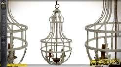 Grand lustre en métal style montgolfière rustico baroque 89 cm