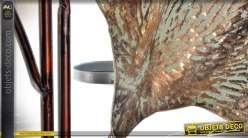 Grand chandelier porte-bougies feuilles de palmier doré stylisé 110 cm