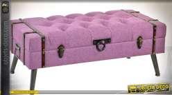 Bout de lit banquette-coffre en tissu capitonné coloris lilas