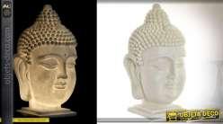 Tête de bouddha lumineuse immitation pierre en résine 48cm