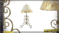 Lampe de table en métal effet vieilli style candélabre finition dorée 77cm