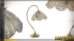 Lampe de table en métal style oriental moucharabieh forme de fleur 50cm