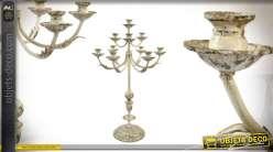 Chandelier en métal à 10 bras finition vieillie de 88cm de haut