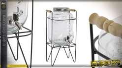 Distributeur de boisson en forme de grand bocal avec support métalique et robinet