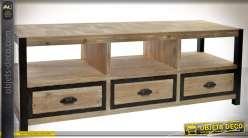 Meuble TV en bois et métal style rustique avec 3 tiroirs 148 cm