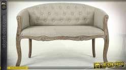 Banquette de style classique en hévéa sculpté avec habillage lin écru 107 cm
