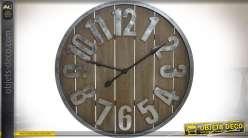 Horloge murale géante en bois et métal de style rétro et atelier Ø 90 cm