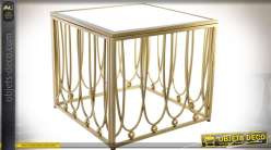 Bout de canapé design en métal doré avec plateau carré en miroir