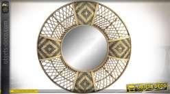 Miroir rond de style exotique en bambou naturel et teinté noir Ø 80 cm