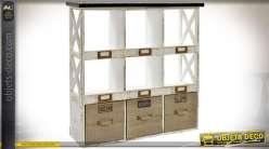 Etagère murale rétro façon anciens casiers postaux de tri à 9 casiers 65 cm