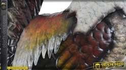 Coq décoratif en métal plumage stylisé multicolore 74 cm