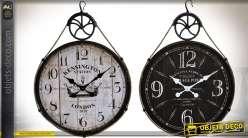 Duo d'horloges rétro et indus. en bois et métal, noir et blanc 71 cm