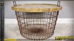 Panier en métal rond table d'appoint en métal et bois Ø 76 cm
