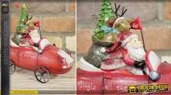 Objet déco de Noël : la voiture rouge du Père-Noël 21 cm