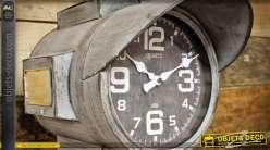 Grande horloge de style industriel en métal gris vieilli et blanchi 41 cm