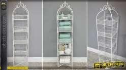 Etagère de rangement en colonne patine blanche ancienne pour salle de bain 136 cm