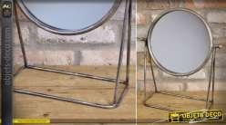 Grand miroir de table rond sur trépied finition argentée vieillie 47 cm