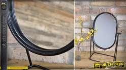 Grand miroir de table ovale en métal patine noire 49 cm