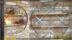 Etagère murale circulaire en bois et métal de style rétro et campagnard Ø 59 cm