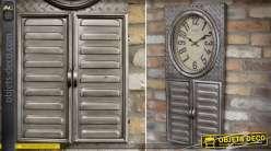 Horloge murale de style industriel et rétro avec armoire à clés 84 cm