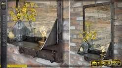 Miroir mural industriel en métal avec étagère gris anthracite 85 cm