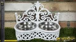 Gamelle pour chien ou chat déco en fonte et inox coloris blanche