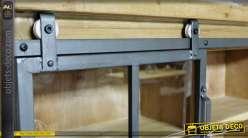 Etagère vitrine murale de style rustique et industriel en bois et métal 80 cm