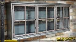 Vitrine murale rétro et industrielle à 3 portes fenêtrées patine grise 115 cm
