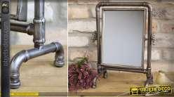 Miroir chevalet industriel tuyaux de plomberie patine bronze vieilli 37 cm