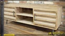 Meuble TV de style rustique 2 portes et 2 niches effet bois à bayadères