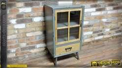 Petite vitrine rétro patine gris clair et bois naturel 1 porte et 1 tiroir 86 cm
