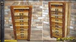 Chiffonnier rustique indus en bois recyclé massif avec 10 tiroirs 84 cm