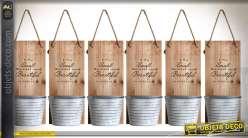 Série de 6 pots jardinières murales en bois et métal de style rétro 29 cm