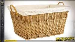 Corbeille à linge en osier clair doublure coton poignées similicuir 60 cm