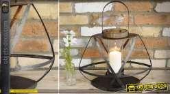 Lanterne ancienne oblongue en métal noir vieilli 49 cm