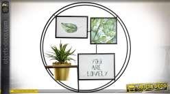 Cadre circulaire multiphotos en métal avec 3 vues et déco florale Ø 43 cm