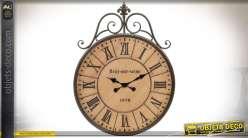 Horloge murale ancienne en bois et métal style rétro 79 cm