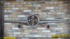 Horloge avion argenté effet métal vieilli (envergure 2 mètres)