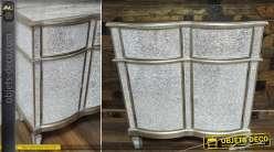 Buffet / commode avec patine vermeille et habillage en verre craquelé 81 cm